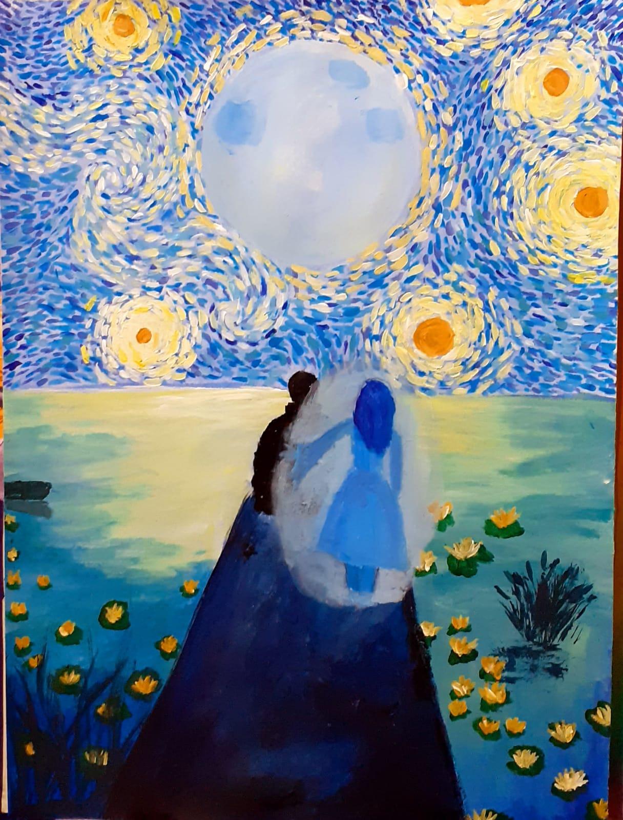 """ABABEI FRANCESCA – cl. a IX-a B Tablou inspirat de poezia """"LACUL"""" de Mihai Eminescu Prof.: Suciu Anamaria și Petrugan Oana"""