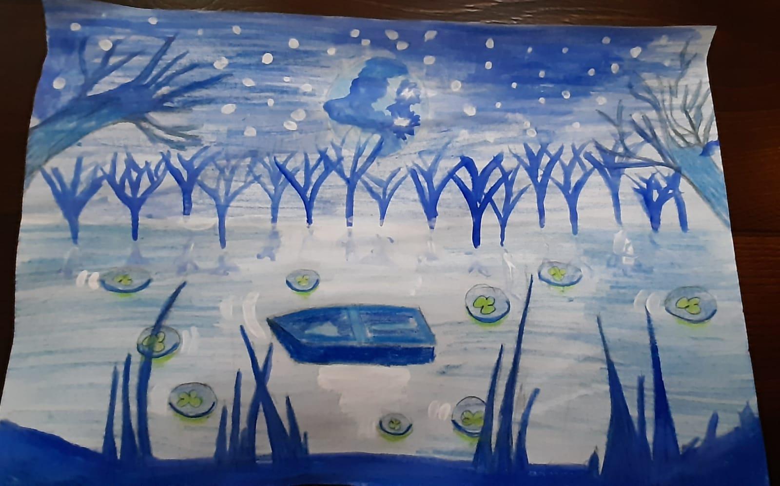 "ELISEI DARIA – cl. a VI-a B Desen inspirat de poezia ""LACUL"" de Mihai Eminescu Prof.: Corbei Claudia – Gabriela"