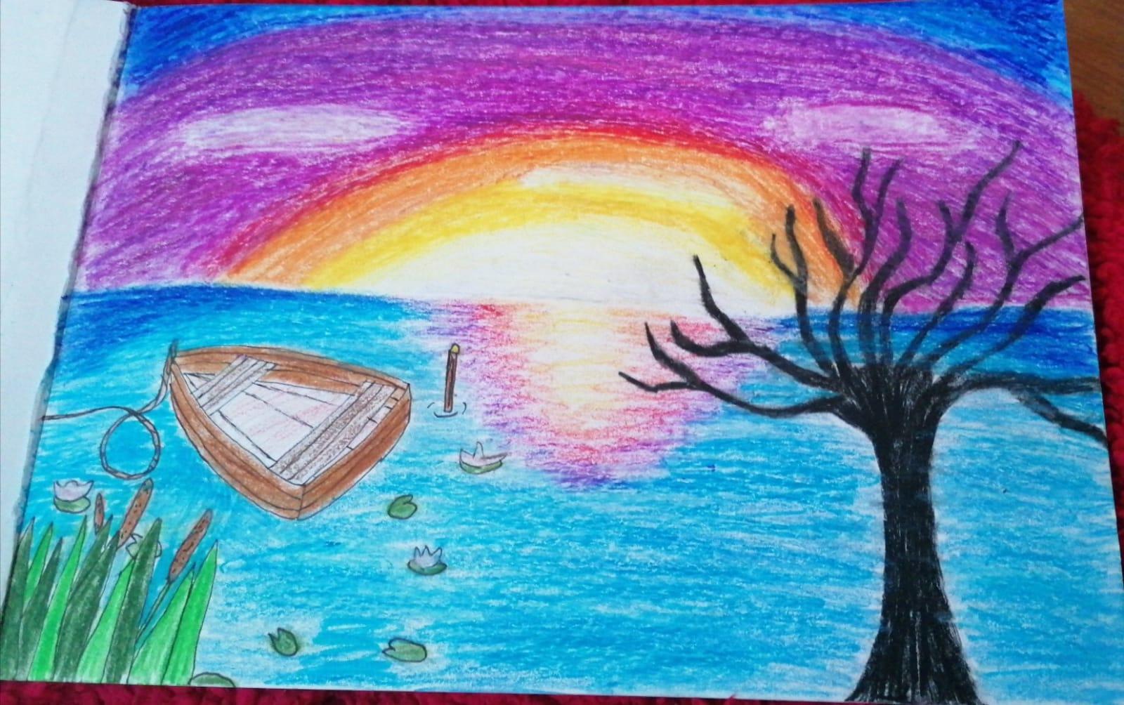 "VIRAG MAIA – cl. a VI-a B Desen inspirat de poezia ""LACUL"" de Mihai Eminescu Prof.: Corbei Claudia – Gabriela"